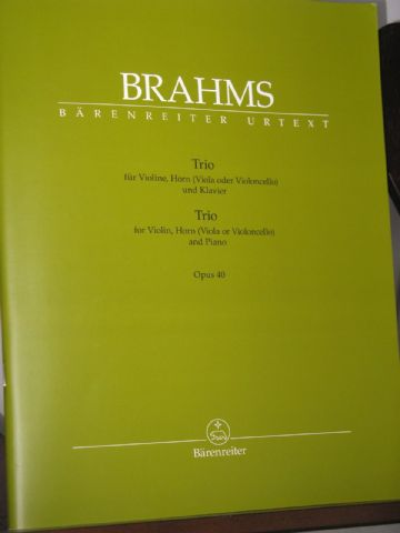 Brahms J - Trio Op 40 for Violin Horn & Piano